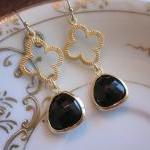 Black Earrings Gold Clover Connecto..