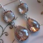 Champagne Earrings Peach Silver Ear..