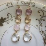 Crystal Earrings Pink Champagne Lav..