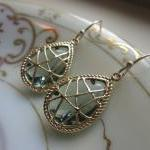 Charcoal Gray Earrings Gold Twisted..