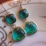 Emerald Green Earrings Gold Two Tie..