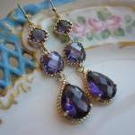 Amethyst Earrings Purple Gold - thr..
