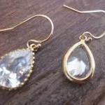 Crystal Earrings Briolette Gold Fil..