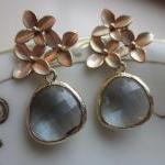 Charcoal Gray Earrings Gold Cherry ..