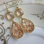 Champagne Peach Earrings Pink Gold ..