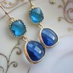 Cobalt Blue Earrings Sea Blue Gold ..