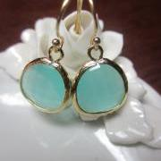 Pacific Aqua Earrings Blue - Bridesmaid Earrings Wedding Earrings