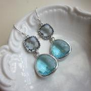 Silver Charcoal Gray Earrings Aquamarine Earrings Blue Two Tier - Bridesmaid Earrings - Bridal Earrings - Wedding