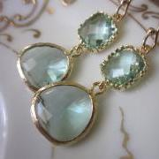 Prasiolite Earrings Light Green Earrings - Pacific Aqua Blue Earrings - Bridesmaid Earrings Wedding Earrings