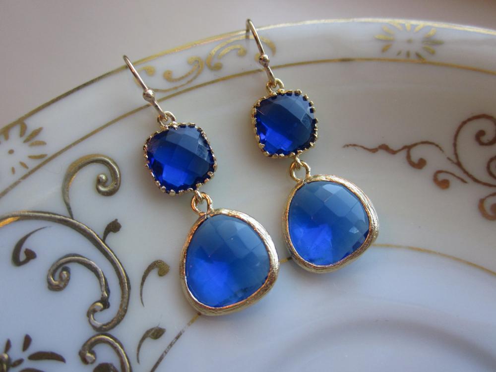 Cobalt Blue Earrings Gold - Gold Plated - Bridesmaid Earrings Wedding Earrings Bridal Earrings