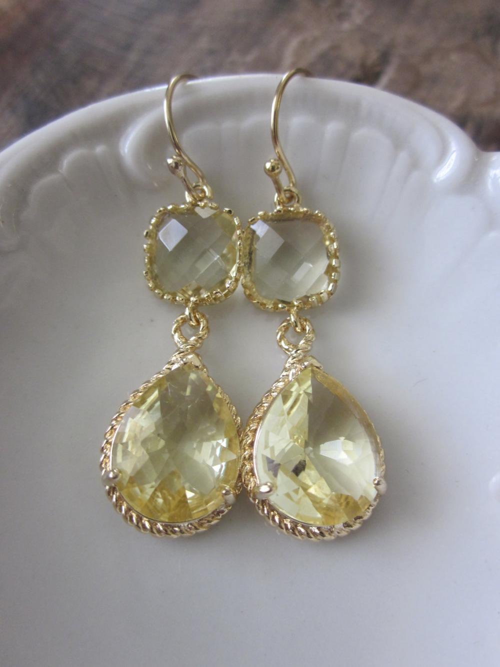 Citrine Earrings Yellow Gold Earrings Teardrop Glass - 14k Gold Filled Earwires - Bridesmaid Earrings Wedding Earrings