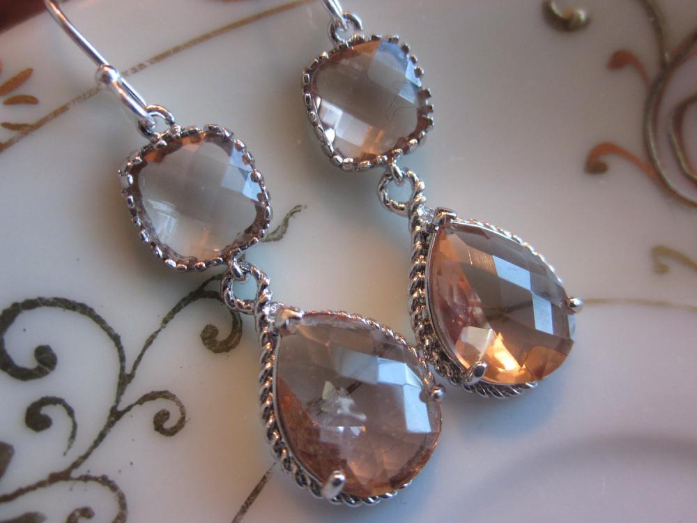 Champagne Earrings Peach Silver Earrings Teardrop Glass Two Tier - Bridesmaid Earrings Wedding Earrings Bridal Earrings