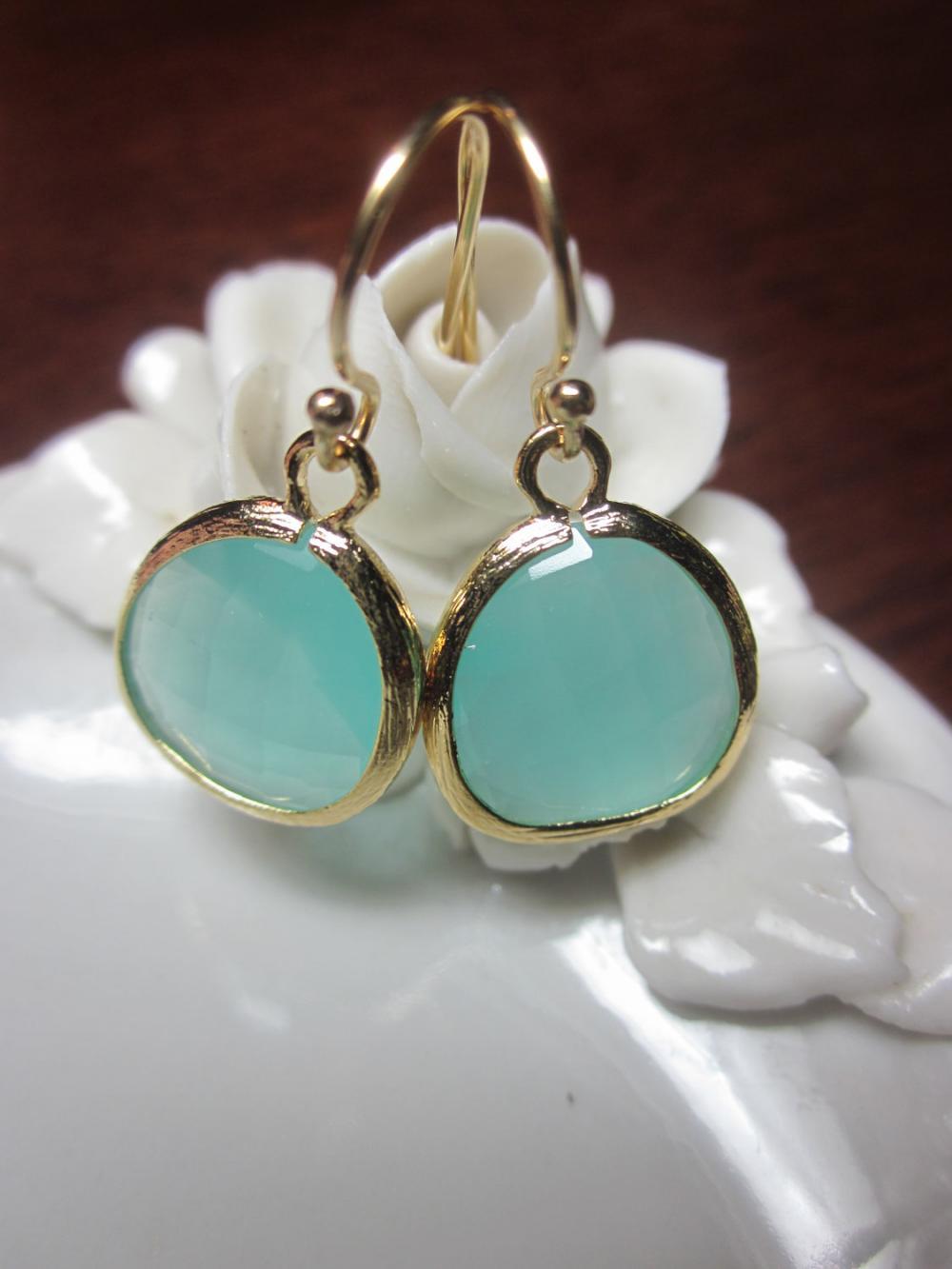 Pacific Aqua Earrings Blue - Bridesmaid Earrings Wedding Earrings