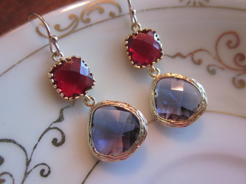 Amethyst Earrings Garnet Square Two Tier Gold Earrings - Bridesmaid Earrings Wedding Earrings Bridal Earrings