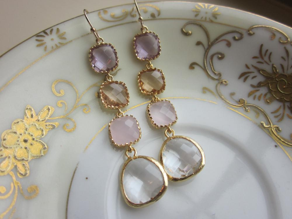 Crystal Earrings Pink Champagne Lavender Earrings - Bridesmaid Earrings - Wedding Earrings - Bridal Earrings