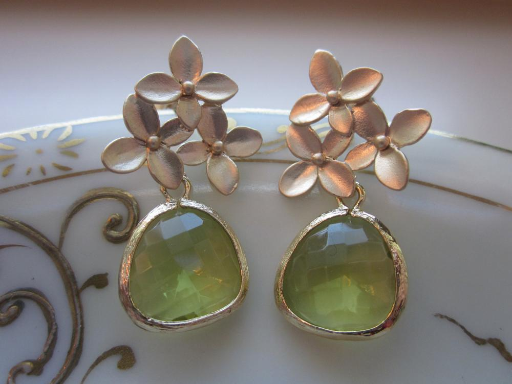 Peridot Earrings Apple Green Gold Cherry Blossom - Sterling Silver Posts - Bridesmaid Earrings - Bridal Earrings - Wedding Jewelry