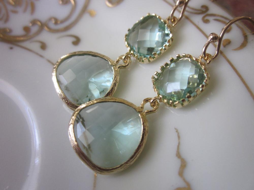 Prasiolite Earrings Light Green Earrings - Pacific Aqua Blue Earrings - Bridesmaid Earrings Wedding Earrings
