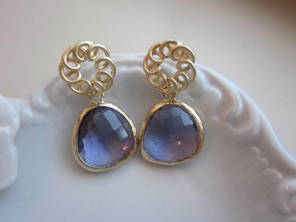 Tanzanite Earrings Purple Matte Gold Circle - Gold Plated Gem - Bridesmaid Earrings - Bridal Earrings