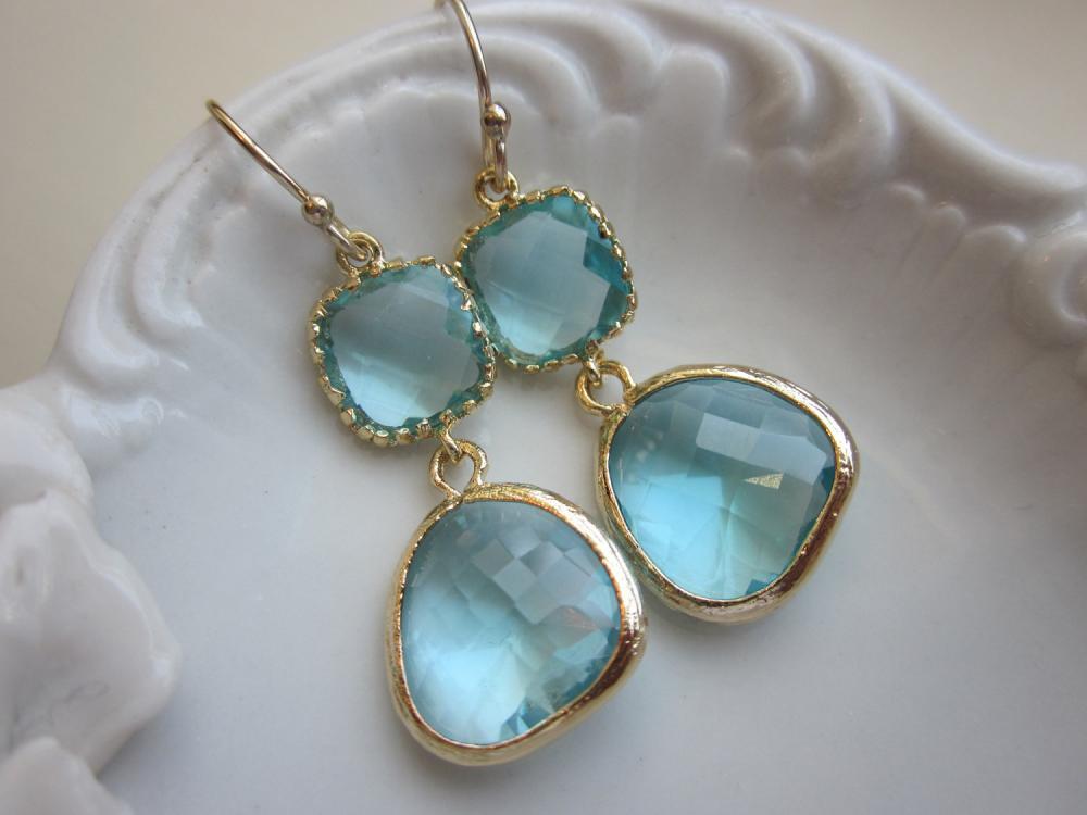 Aquamarine Earrings Gold Two Tier Blue Earrings - Bridesmaid Earrings Wedding Earrings