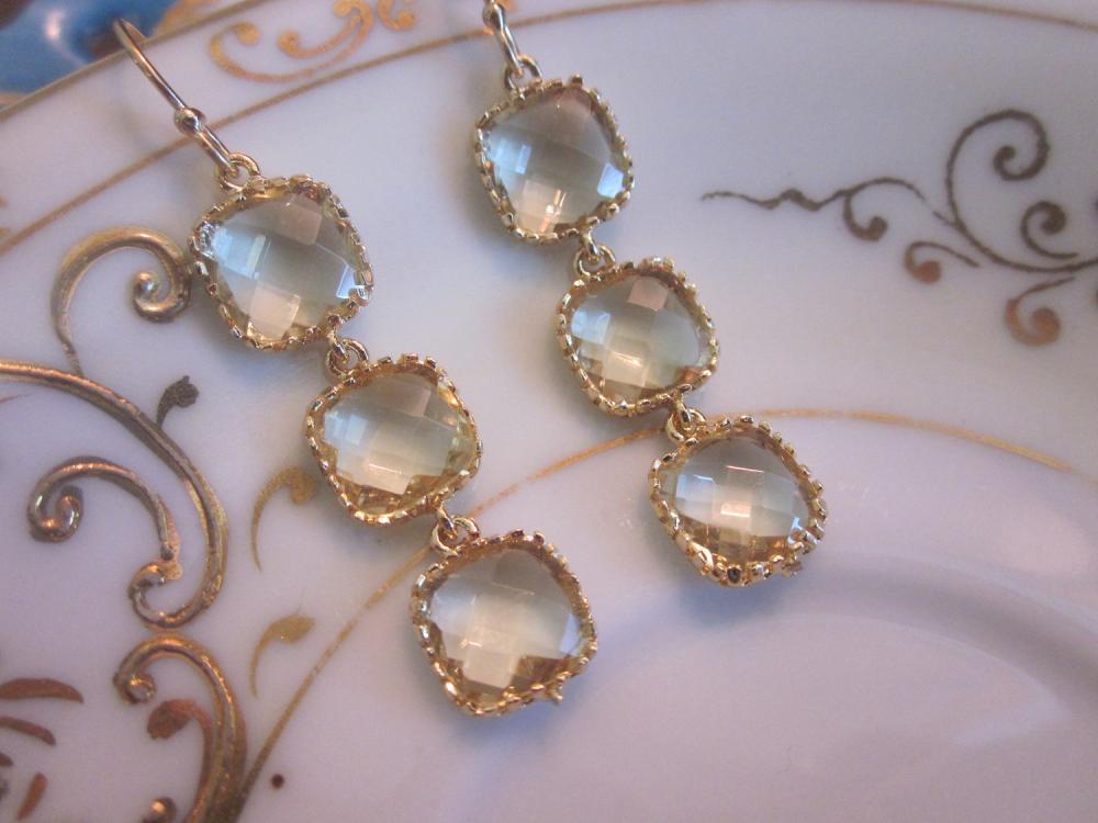 Citrine Earrings Yellow Gold - 3 Blocks - Bridesmaid Earrings - Bridal Earrings - Wedding Earrings