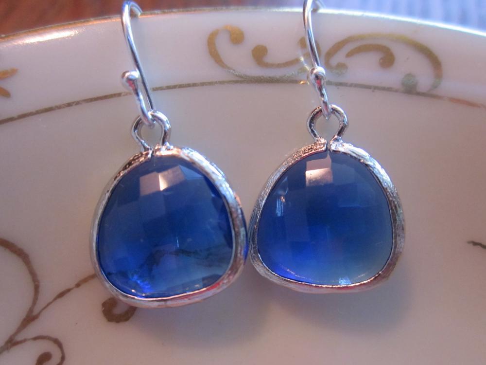 Cobalt Blue Earrings Silver Plated - Sterling Silver Earwires - Bridesmaid Earrings - Wedding Jewelry