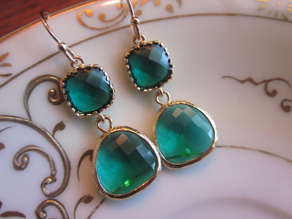Emerald Green Earrings Gold Two Tier - Bridesmaid Earrings - Wedding Earrings - Bridal Earrings