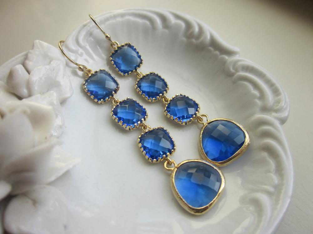Cobalt Earrings Blue Gold Plated Earrings 4 Tier