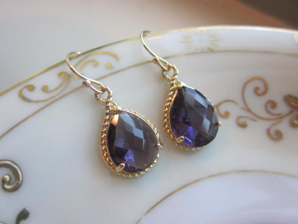 Amethyst Earrings Purple Gold Teardrop Pendant - Bridesmaid Earrings Wedding Earrings Bridal Earrings