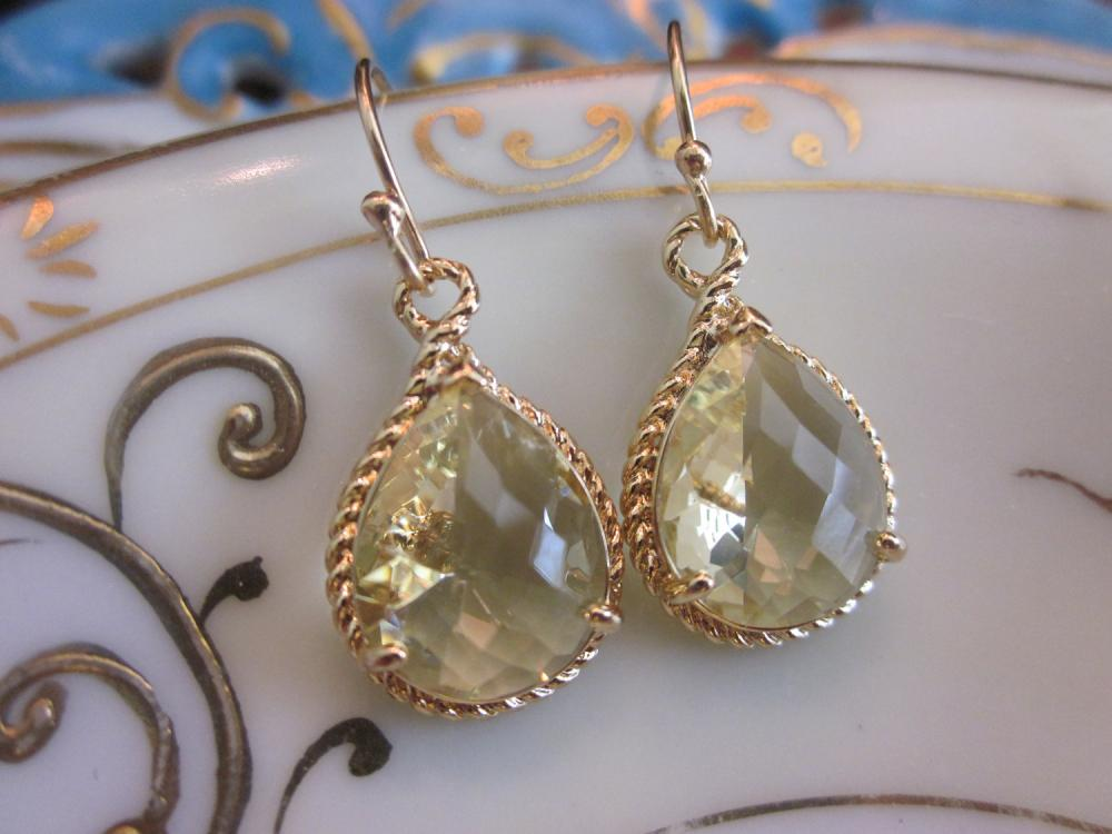 Citrine Earrings Yellow Gold Earrings Bridesmaid Earrings