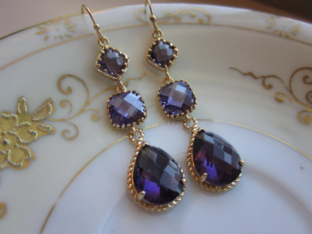 Amethyst Earrings Purple Gold Three Tier Bridesmaid Wedding Jewelry Bridal