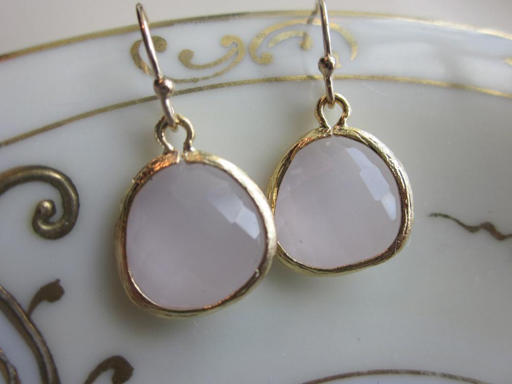 Opal Pink Earrings Gold Plated - Bridesmaid Earrings - Wedding Earrings - Bridal Earrings