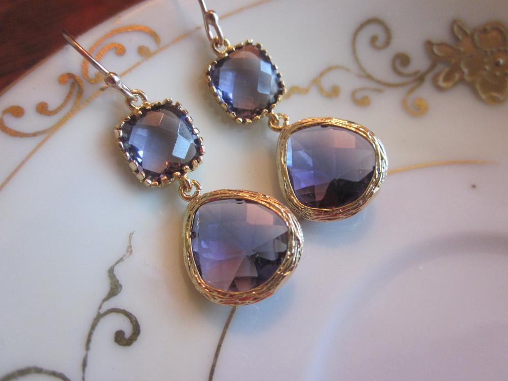 Amethyst Earrings Two Tier Gold Earrings Teardrop Glass - Bridesmaid Earrings Wedding Earrings Bridal Earrings