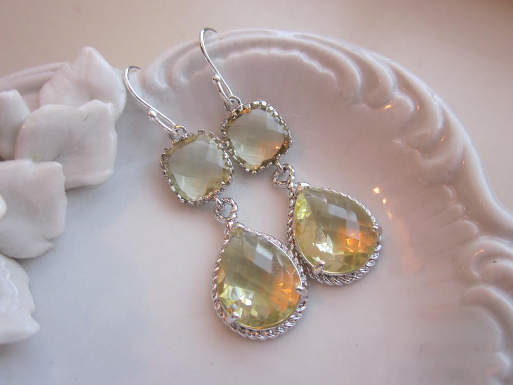 Citrine Earrings Yellow Silver Earrings Teardrop Glass - Sterling Silver Earwires - Bridesmaid Earrings Wedding Earrings