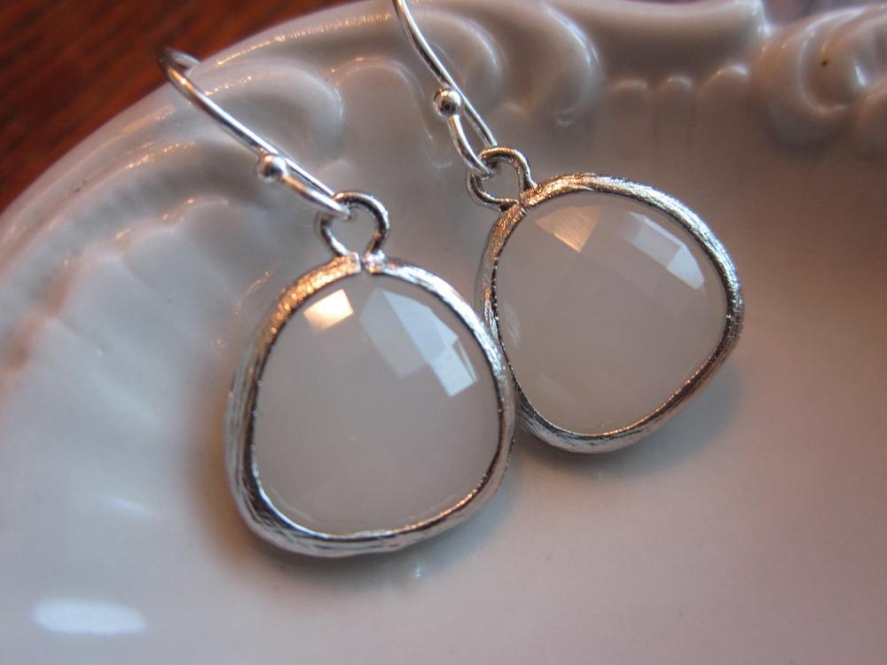 White Opal Earrings Gem Silver Plated Sterling Silver Earwires - Bridesmaid Earrings - Wedding Earrings - Bridal Earrings