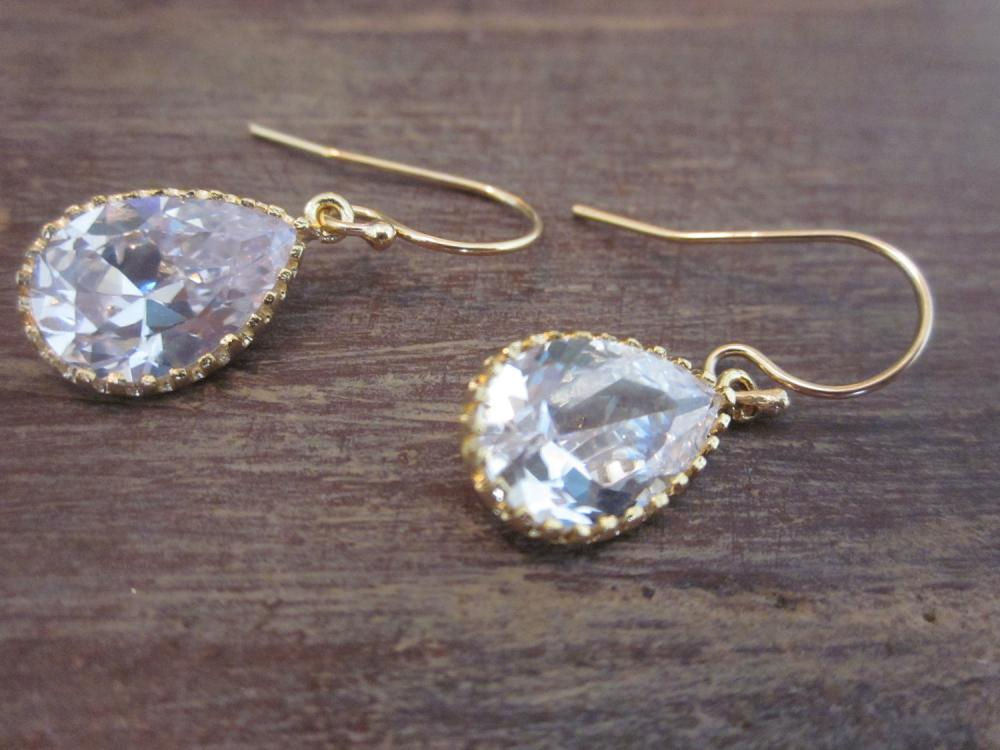 Crystal Earrings Briolette Gold Filled Earwires - Gold Plated Glass Gem - Bridesmaid Earrings - Bridal Earrings