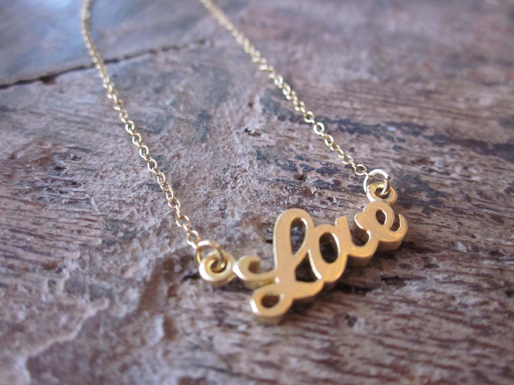 Gold Love Bracelet Charm - 14k Gold Filled Chain - Bridesmaid Bracelet - Wedding Jewelry