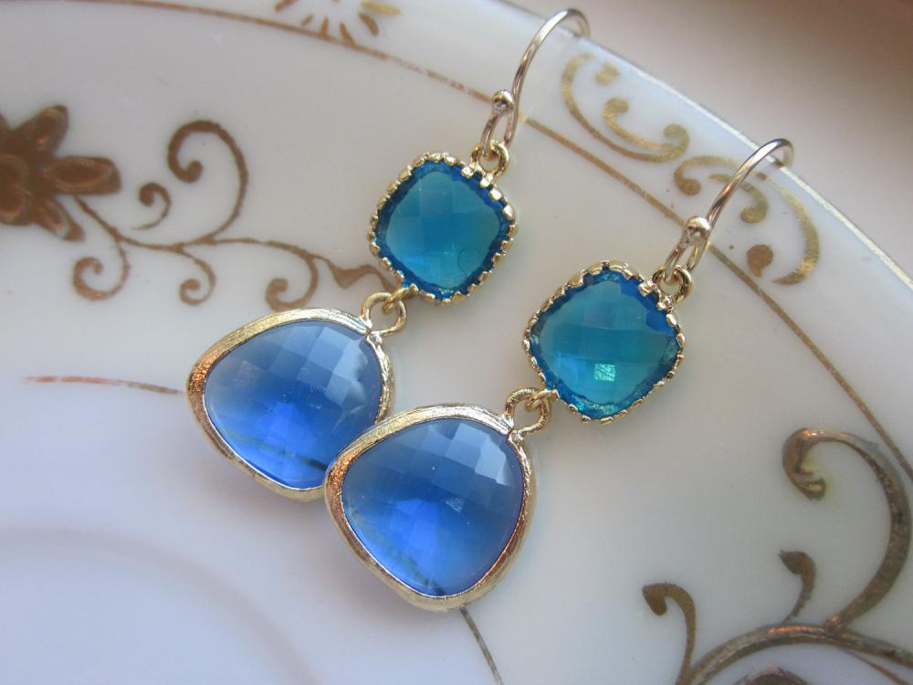 Cobalt Blue Earrings Sea Blue Gold Two Tier Earrings - Gold Plated - Bridesmaid Earrings Wedding Earrings Bridal Earrings
