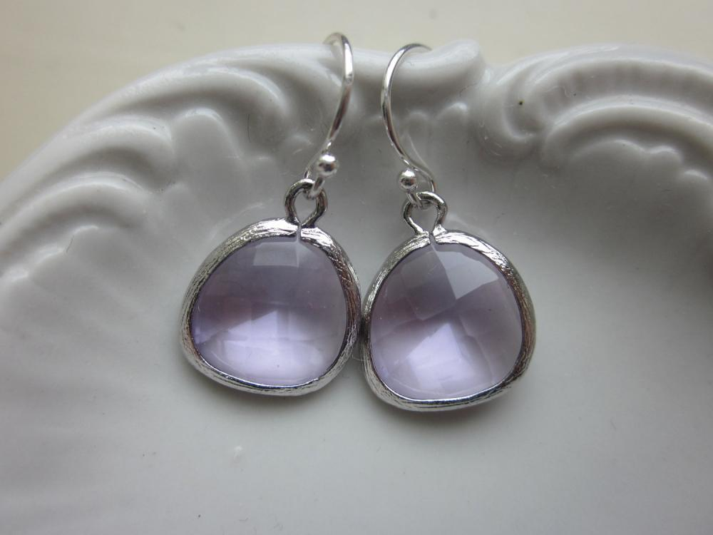 Lavender Earrings Silver - Sterling Silver Earwires - Purple Earrings - Bridesmaid Earrings - Wedding Earrings