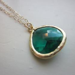 Emerald Green Necklace Gold Plated Large Pendant - Gold Filled Chain - Wedding Jewelry - Bridesmaid Jewelry - Bridesmaid Necklace