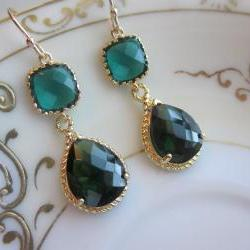 Emerald Green Earrings Gold Pendant Two Tier - Bridesmaid Earrings - Wedding Earrings - Bridal Earrings