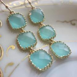 Aqua Blue Earrings Gold Plated - Three Tier Squares - Bridesmaid Earrings - Bridal Earrings
