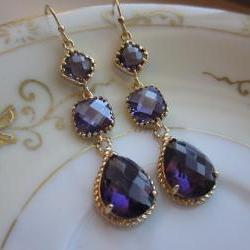 Amethyst Earrings Purple Gold - three tier - Bridesmaid Earrings - Wedding Jewelry - Bridal Earrings