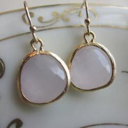 Opal Pink Earrings Gold Plated - Bridesmaid Earrings - Wedding Earrings - Bridal Earrings