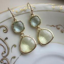 Citrine Earrings Prasiolite Glass Gold Plated - Bridesmaid Earrings - Bridal Earrings - Wedding Earrings