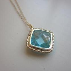 Aquamarine Necklace Gold Plated Aqua Large Diamond Pendant - Gold Filled Chain - Wedding Jewelry - Bridesmaid Jewelry - Bridesmaid Necklace