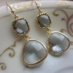 Charcoal Gray Earrings Gold Plated Two Tier - Bridesmaid Earrings - Bridal Earrings - Wedding Jewelry