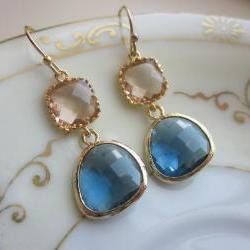 Champagne Peach Earrings Sapphire Navy Gold Plated - Bridesmaid Earrings - Wedding Earrings - Bridal Earrings