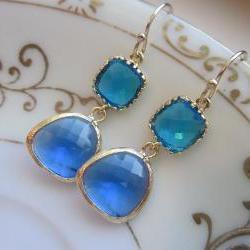 Cobalt Blue Earrings Sea Blue Gold Two Tier Earrings - Gold Plated - Bridesmaid Earrings Wedding Earrings Bridal Earrings