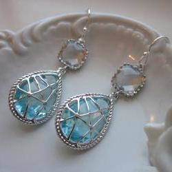 Crystal Aquamarine Earrings Blue Sterling Silver Earwires - Bridesmaid Earrings Wedding Earrings