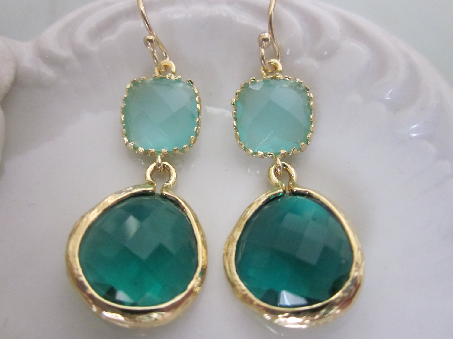 Emerald Green Earrings Blue Bridesmaid Wedding